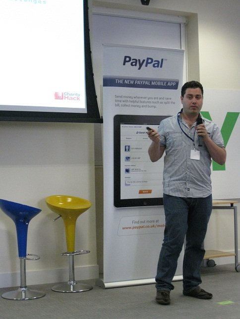 Adam Tibi at Paypal Charity Hack 2010 speaking to the audience